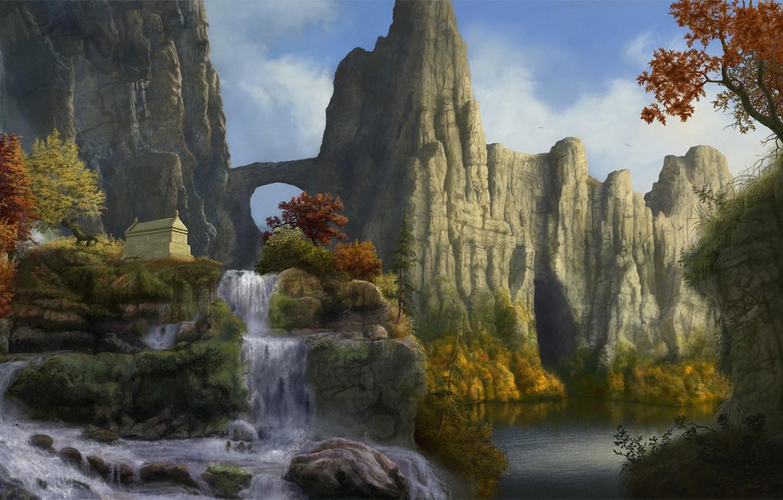 Фото обои осень, деревья, пейзаж, горы, скалы, водопад, арт, арка, саркофаг