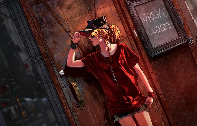 Фото обои девушка, стена, улица, крест, кепка, жест, neon genesis evangelion, soryu asuka langley, evangelion, art, shikinami …