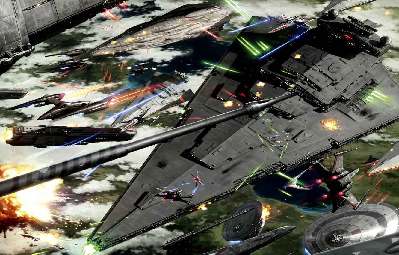 Фото обои Star Wars, Art, Space Battle, Battle of Kashyyyk