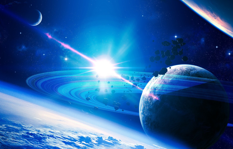 Фото обои свет, вселенная, звезда, планета
