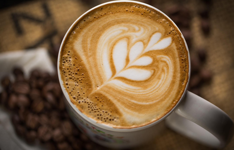 Фото обои пена, узор, кофе, зерна, кружка, чашка, белая, напиток, капучино