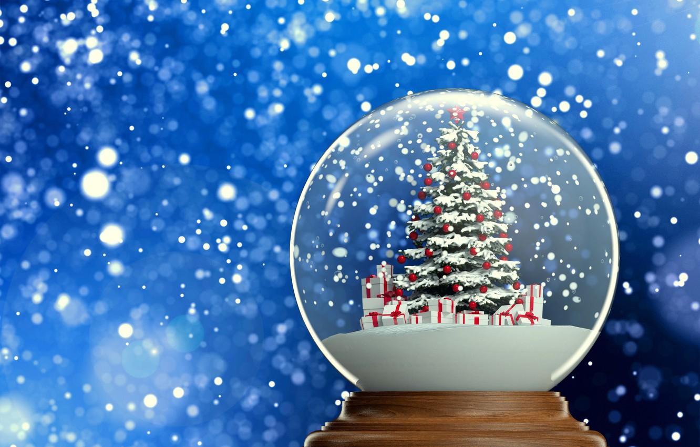 Фото обои фон, новый год, подарки, ёлка, елочка, снежок, снежный шар, 2015