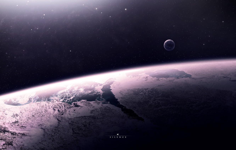 Фото обои звезды, поверхность, пространство, планета, спутник, атмосфера