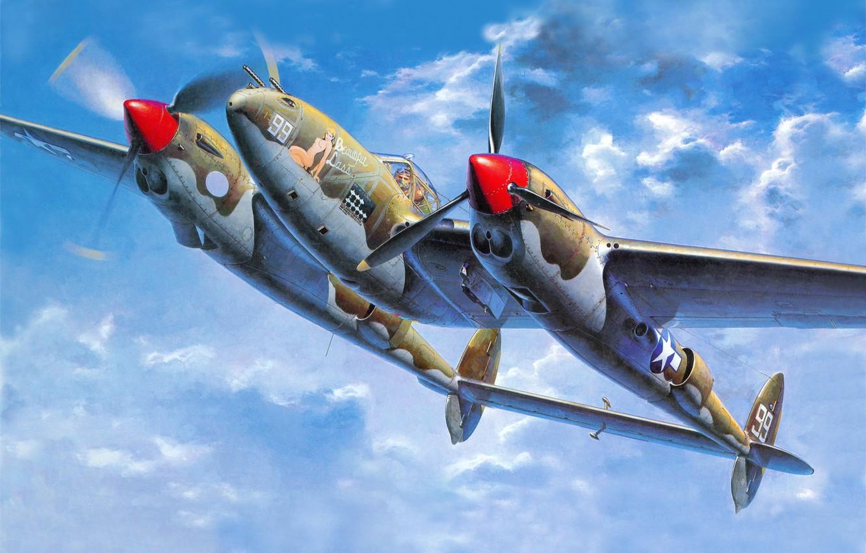 Обои локхид p-38, самолеты, американские. Авиация foto 13