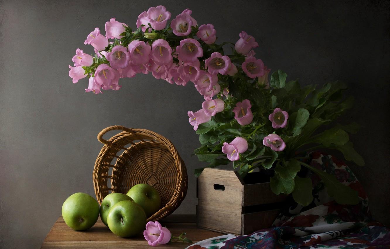 Обои фрукты, натюрморт, кубок, яблоки, цветы. Разное foto 17