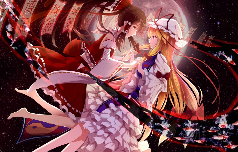 Фото обои девушки, магия, арт, touhou, yakumo yukari, hakurei reimu, bakanoe