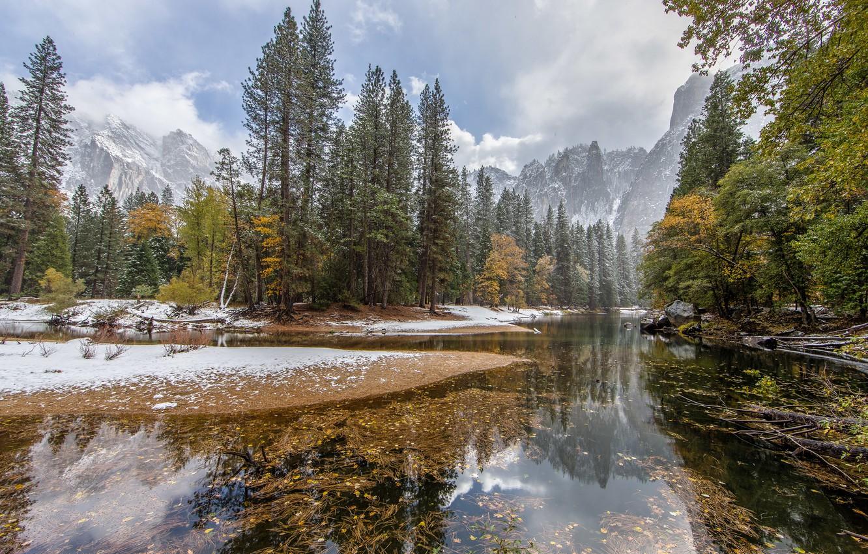 Фото обои зима, лес, горы, природа, озеро