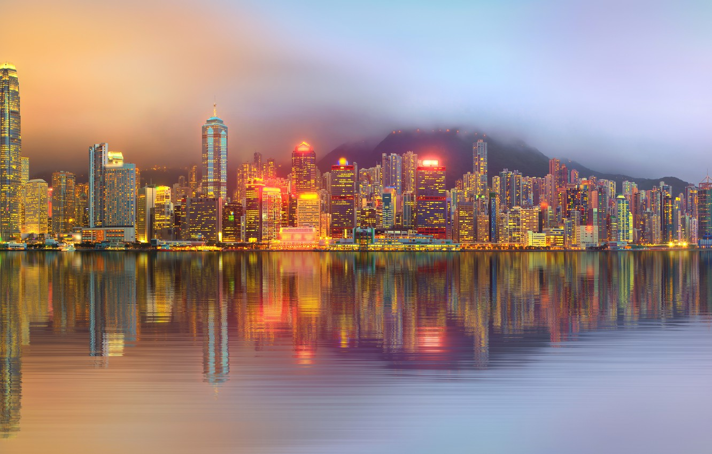 Фото обои Дома, Гонконг, Ночь, Река, Небоскребы, Китай, Побережье