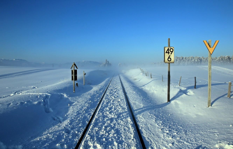 Фото обои зима, пейзаж, знаки, железная дорога
