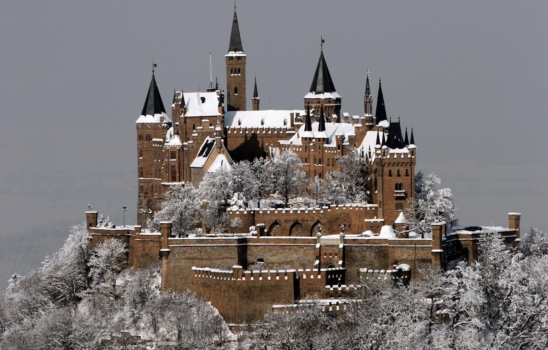 Фото обои зима, иней, снег, город, замок, гора, Германия, Germany, Castle, Гогенцоллерн, Burg Hohenzollern, Штутгарт, in Winter, …