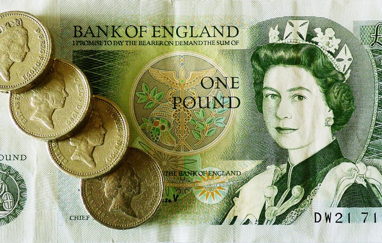 Фото обои деньги, монеты, королева, банкнота, фунт