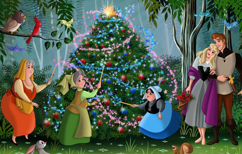 Фото обои лес, птицы, мультфильм, сказка, Роза, Новый Год, Рождество, Аврора, принц, ёлка, forest, Christmas, друзья, принцесса, …