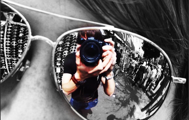Фото обои отражение, Очки, объектив