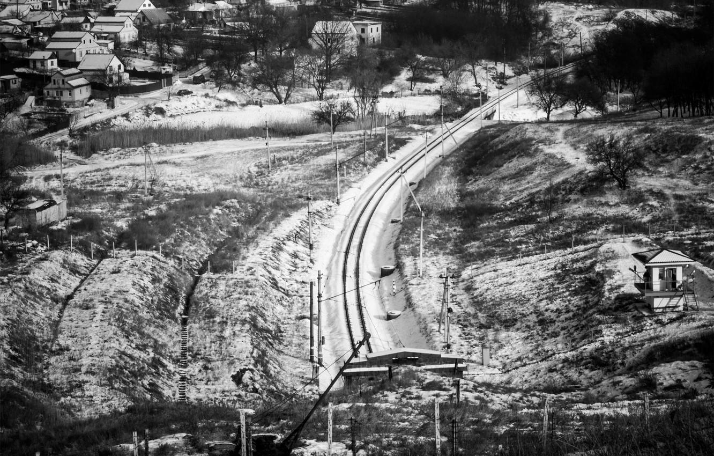 Фото обои зима, рельсы, украина, днепропетровск, штефан фото, тоннельная балка, зимняя железная дорога