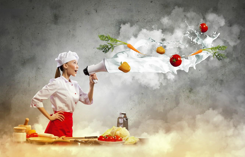Фото обои девушка, креатив, молоко, повар, азиатка, овощи, помидоры, морковь, перчик, готовка, рупор