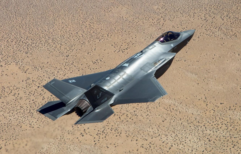 Фото обои полет, земля, истребитель, пилот, бомбардировщик, Lightning II, Lockheed Martin, F-35A