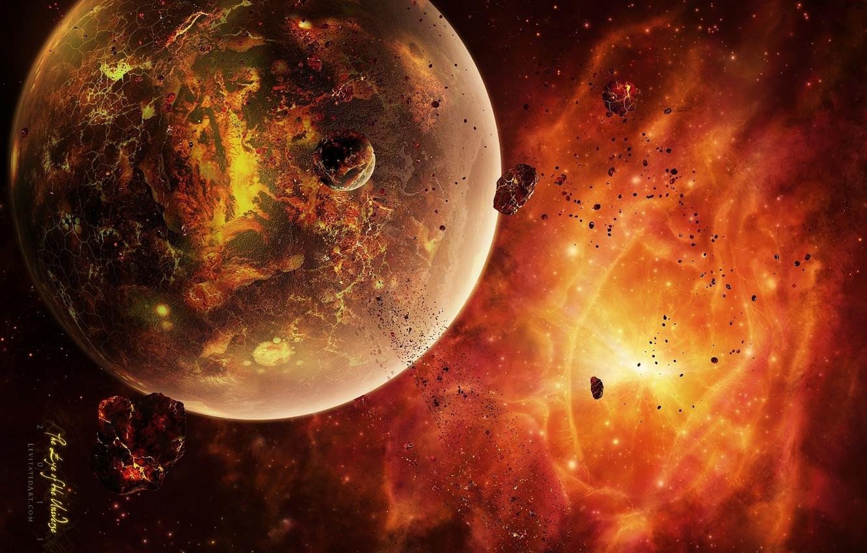 Фото обои астероиды, раскаленная планета, dead sistem