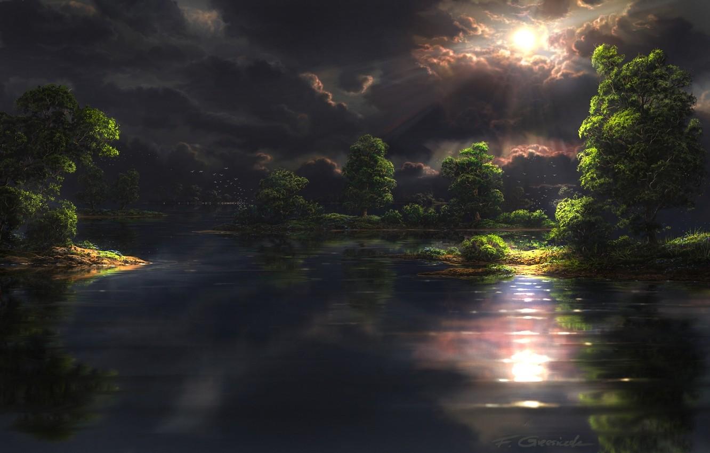 Фото обои лес, солнце, деревья, пейзаж, птицы, тучи, озеро, арт, Fel-X, просвет