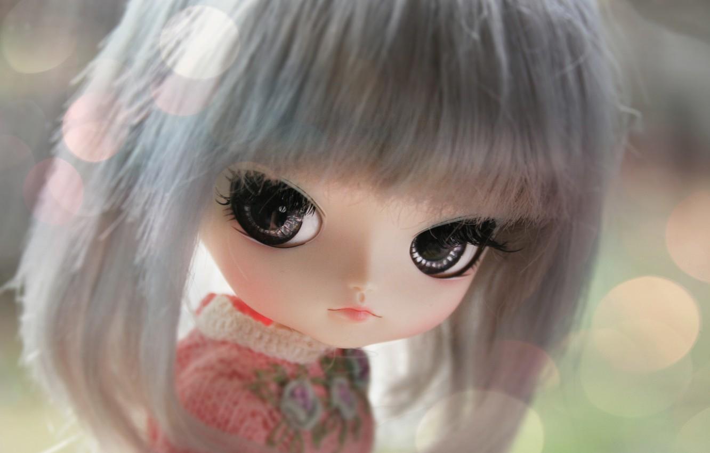 Фото обои глаза, лицо, кукла, большие, челка