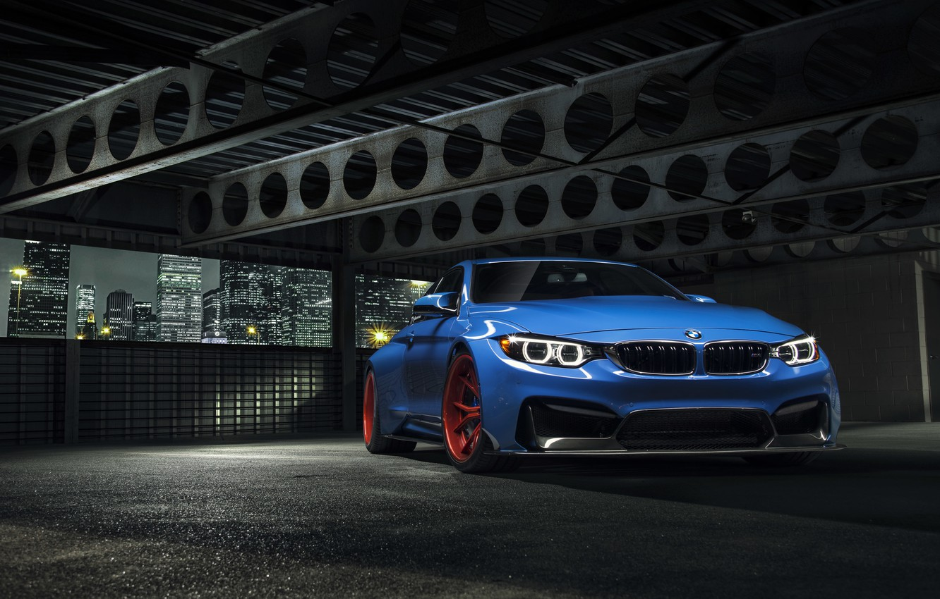 Фото обои BMW, City, Blue, Front, Vorsteiner, Wheels, Widebody, Photoshoot, Nigth, GTRS4