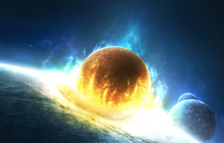 Фото обои космос, взрыв, трещины, огонь, планеты, удар, Lost in Flames