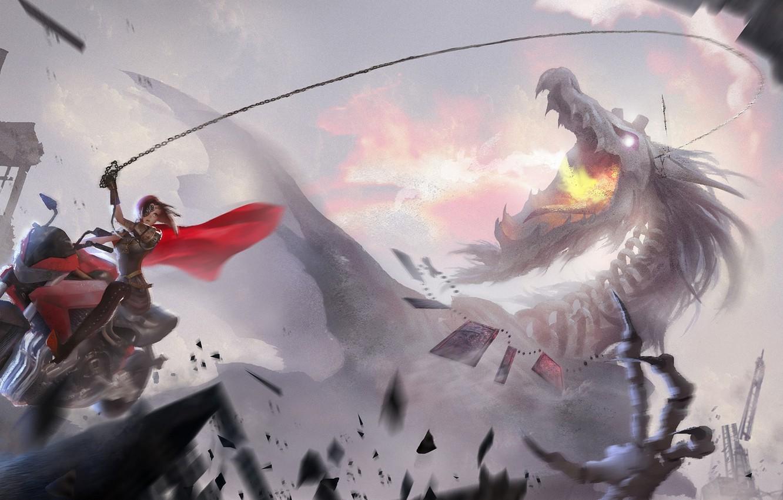 Фото обои девушка, дракон, дома, аниме, арт, цепь, мотоцикл, разрушение, повязка, плащ, lost elle