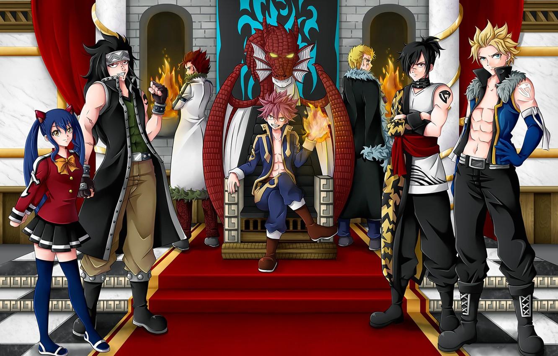 Фото обои fire, game, anime, fairy, asian, manga, Wendy, witch, japanese, Fairy Tail, Natsu Dragneel, Gajeel Redfox, …