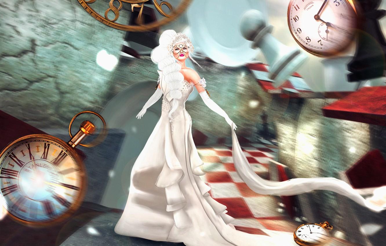 Фото обои девушка, фантазия, часы, размытие, платье, арт, Nadja Baxter, Dreams:Running Late