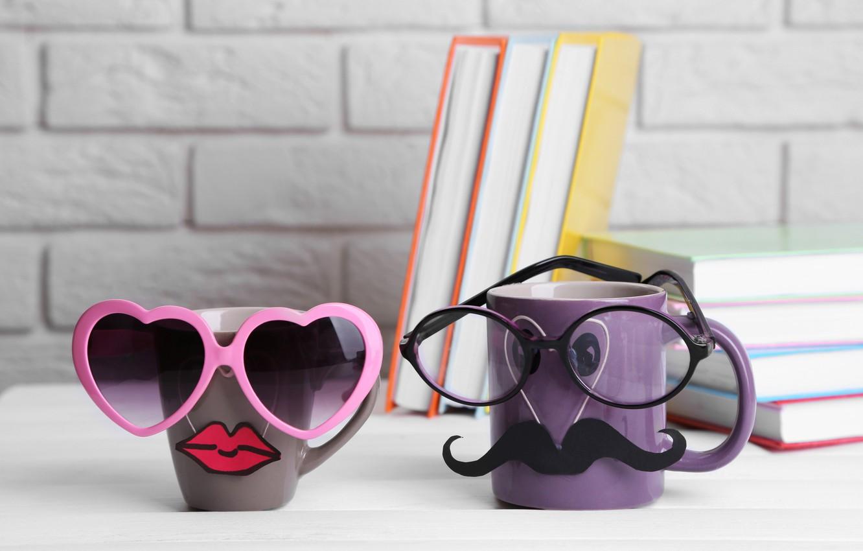 Фото обои книги, кофе, очки, кружка, cup, lips, funny, glasses, cute, books, mustache