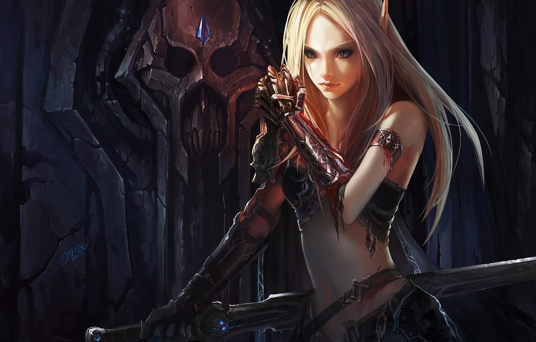 Фото обои кровь, меч, доспехи, WoW, World of Warcraft, эльфийка, chenbo