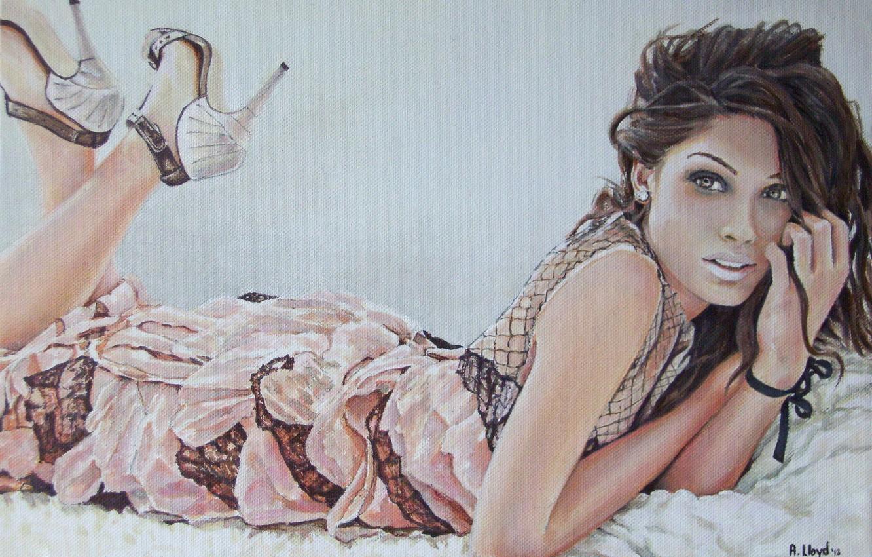 Фото обои глаза, взгляд, девушка, волосы, руки, макияж, платье, губы, лежит, каблуки, живопись