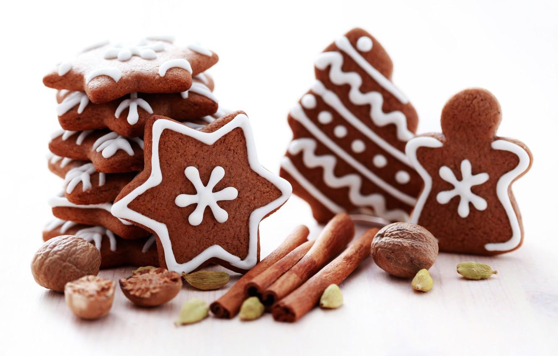Фото обои Новый Год, печенье, орех, Рождество, сладости, корица, Christmas, звездочки, фигурки, выпечка, праздники, орешки, New Year, …