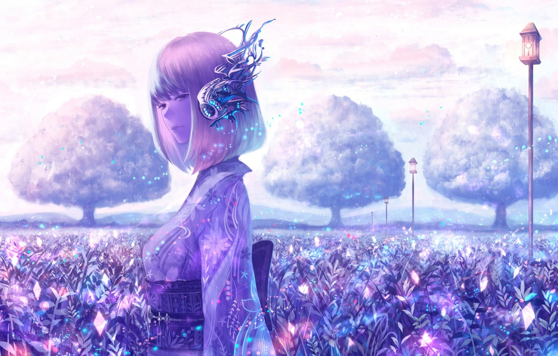 Фото обои небо, девушка, облака, деревья, природа, аниме, наушники, арт, фонари, кимоно, bounin