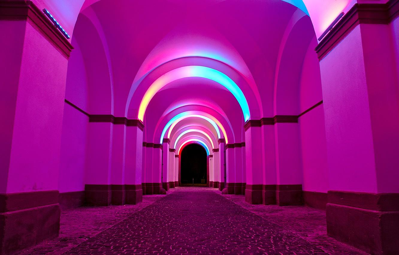 Обои арка, свет, ночь, краски. Природа foto 8