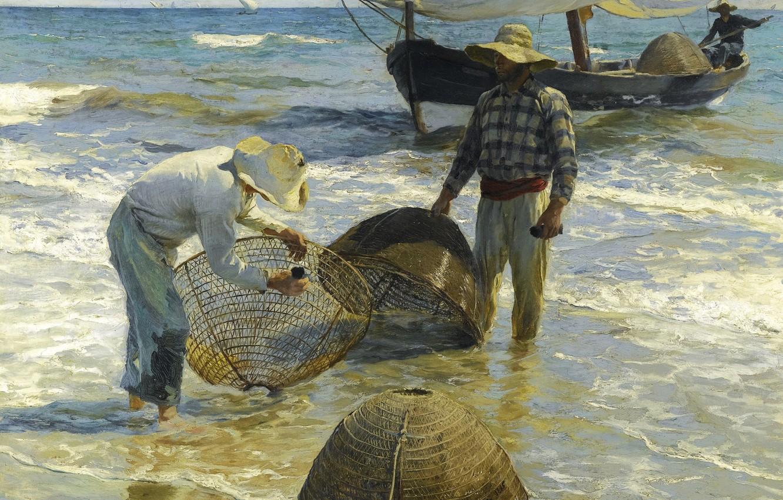 Обои жанровая, парус, Три Паруса, лодка, женщины, Хоакин Соролья, морской пейзаж, картина. Разное foto 9