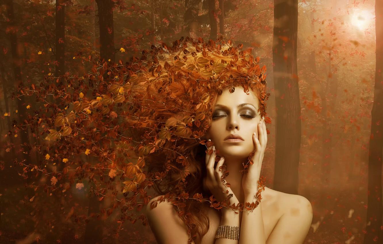 Фото обои лес, листья, девушка осень, AUTUMN LEAVES