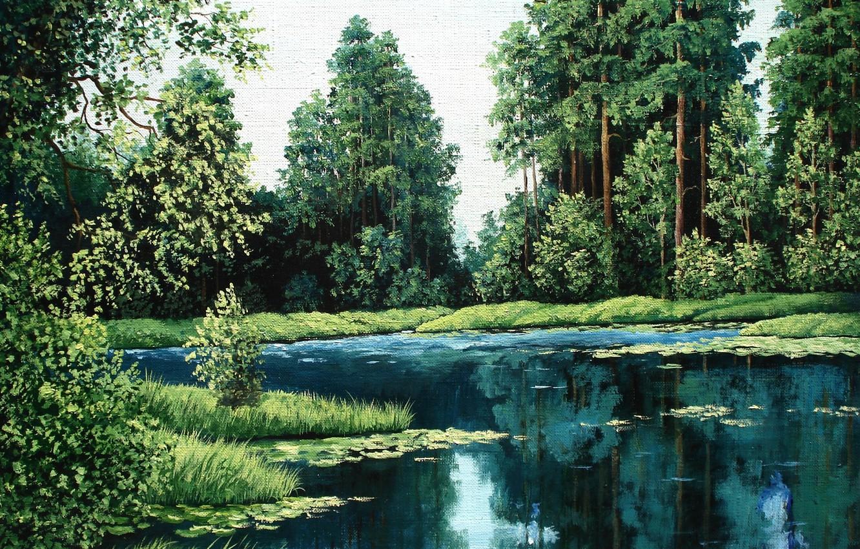 Фото обои лес, вода, деревья, пейзаж, природа, озеро, картина, сосны, живопись, Луценко