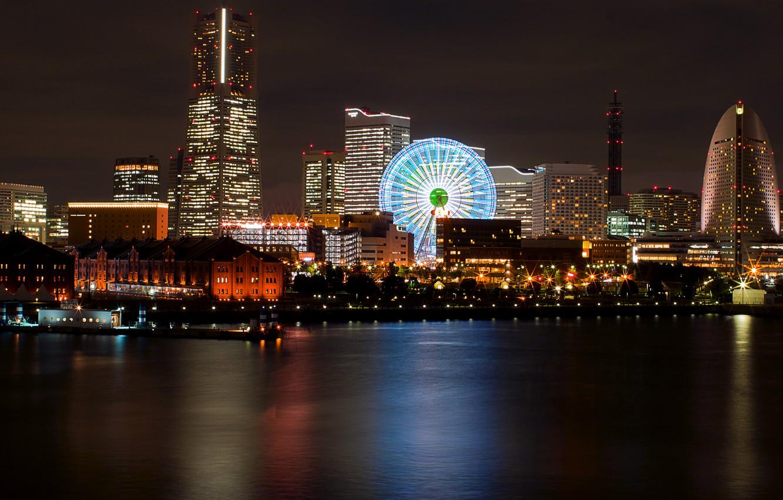 Фото обои ночь, огни, отражение, Япония, подсветка, порт, залив, колесо обозрения, Japan, мегаполис, Йокогама, Yokohama