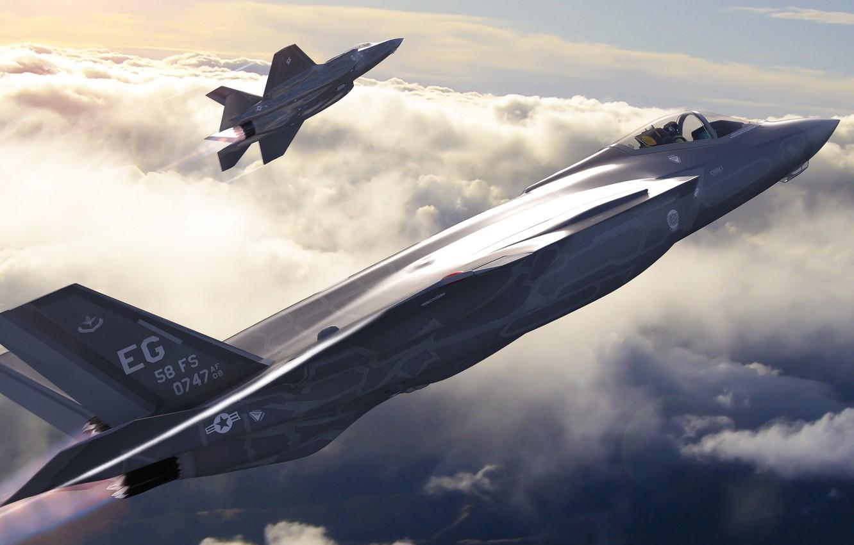 Обои F-35, lightning ii, истребитель, бомбардировщик, суша. Авиация foto 7