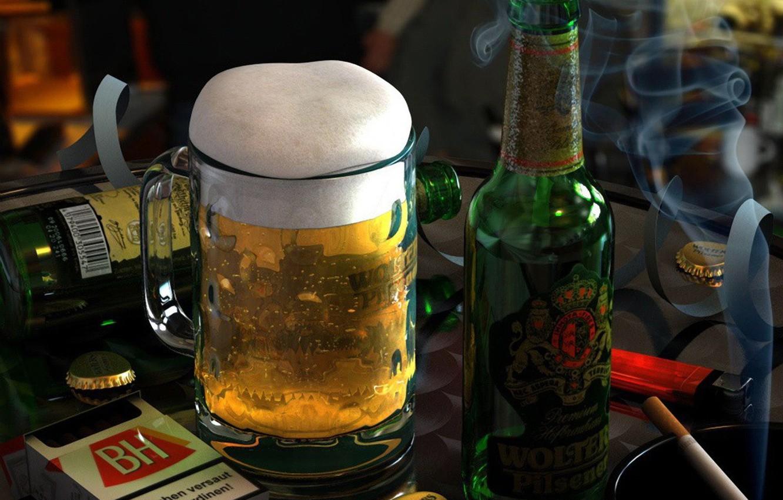 Фото обои стакан, бутылка, сигарета, Пиво