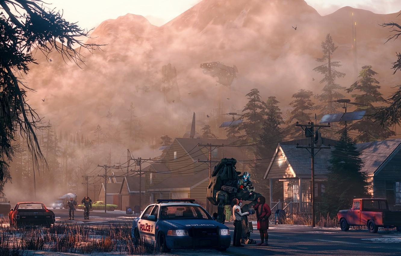 Фото обои авто, город, люди, улица, робот, дома, полиция, утро, броня, постапокалипсис, патруль