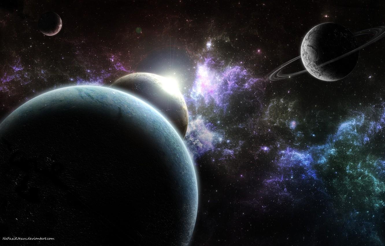 Фото обои туманность, планеты, кольца, спутники, nebula, звездное скопление