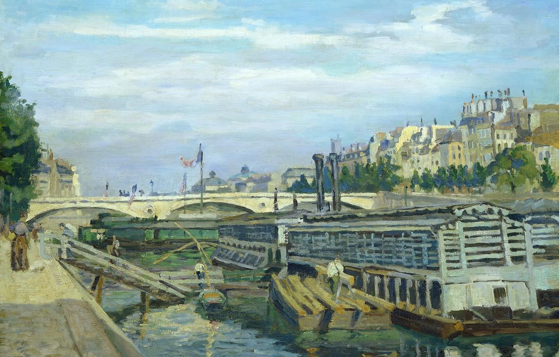 Фото обои пейзаж, мост, река, Париж, дома, картина, городской, Арман Гийомен, The Bridge of Louis Philippe