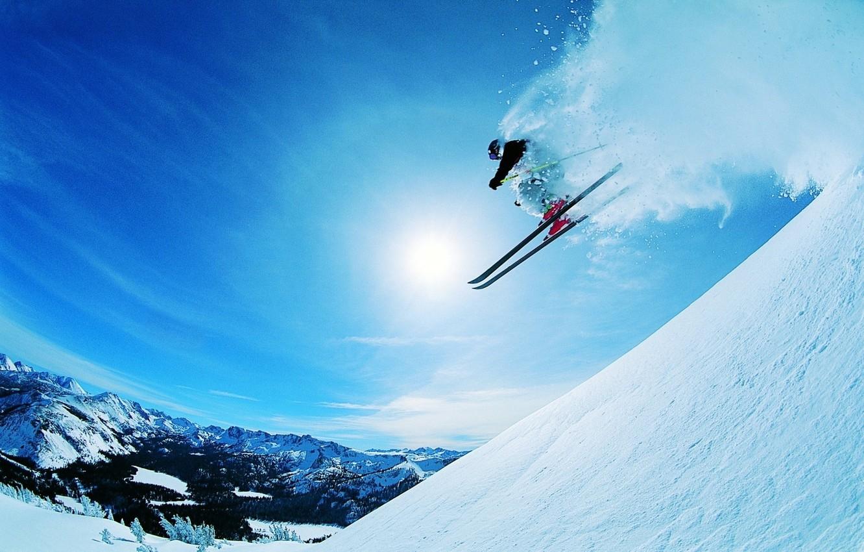 Обои лыжник, спуск, склон. Спорт foto 6