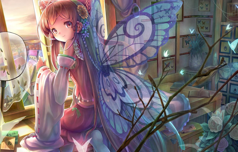 Фото обои бабочки, цветы, улыбка, стол, комната, крылья, окно, арт, девочка, книга, touhou, сидя, hakurei reimu, sanntouhei