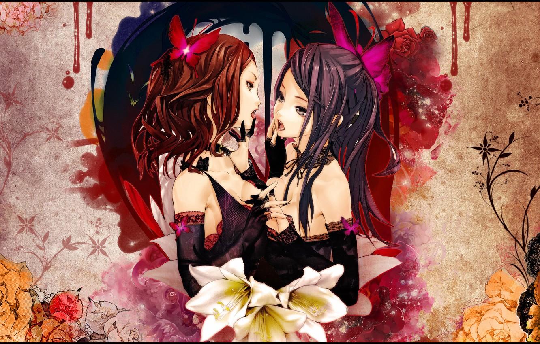 Фото обои цветы, девушки, чувства