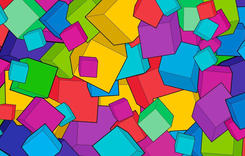 Фото обои абстракция, фон, кубики, яркие, куб, ярко, art, cube, fone