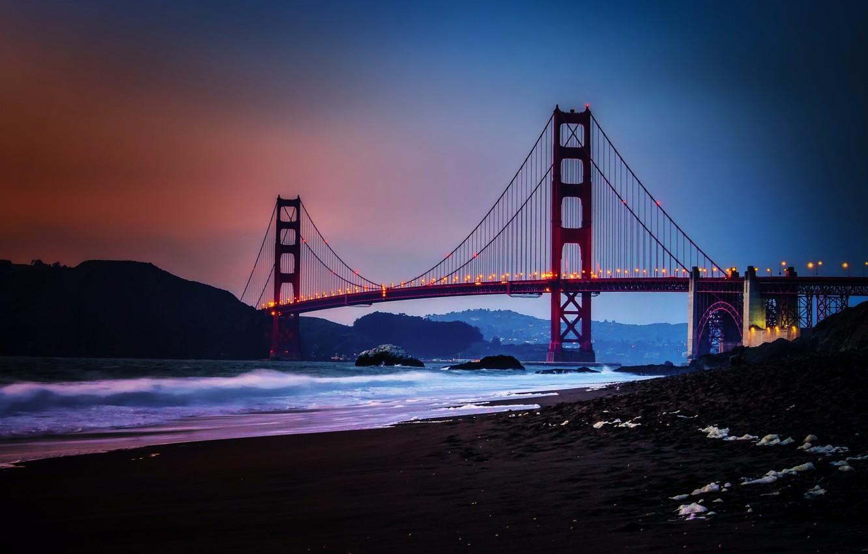 Фото обои City, Nature, Sky, Bridge, Water, Sunset, San Francisco, Golden, Sand, Ocean, Scenic, Gate, Baker