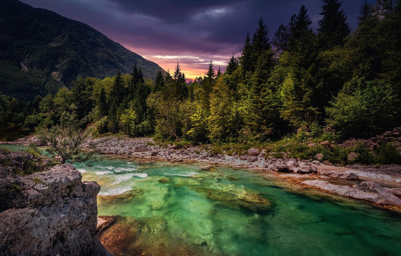 Фото обои небо, горы, река