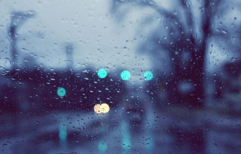 Фото обои стекло, капли, макро, огни, дождь